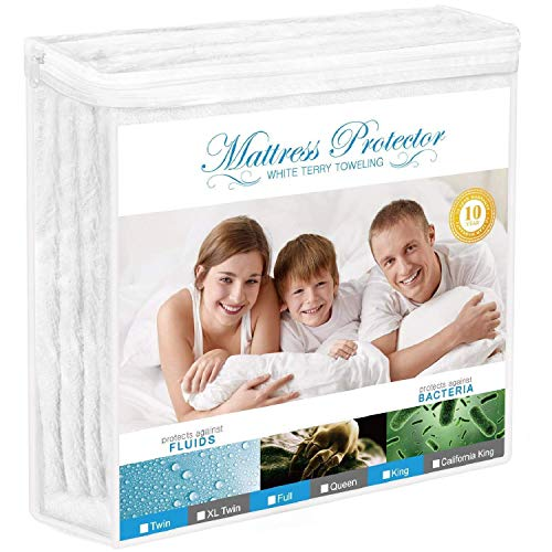 Adoric Mattress Protector, Waterproof Mattress Protector, Premium Mattress Cover Cotton Terry Surface-Vinyl Free (Full) Cotton Quilted Mattress Protector
