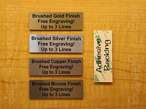(Custom Engraved 1x3 Brushed Metal Finish Name-Plate | Tag Sign ID Badge with Adhesive | Engraving Trophy Plaque Urn Keepsake Loving Personalized Small Business Home Office Wall Door Plaque Placard )