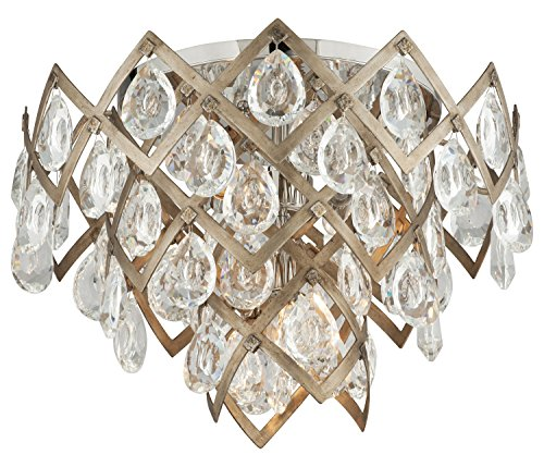 - Vienna Bronze Tiara 3 Light Hand Crafted 19.5in. Wide Semi Flush Ceiling Fixture with Clear Crystal Diffusers