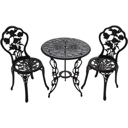 Patio Furniture Outdoor Garden Rose 3-Piece Bistro Set 1 table and 2 chairs aluminum cast-iron legs rose pattern (Cast Iron Patio Table And Chairs)