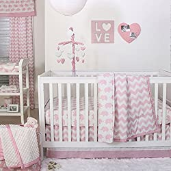 Pink Zig Zag and Elephant 4 Piece Baby Crib Bedding Set by The Peanut Shell