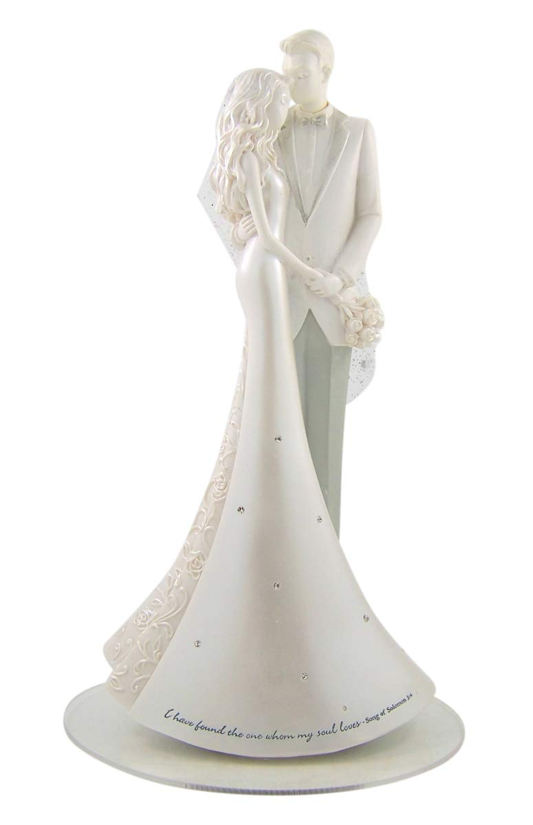 White Pearlescent Resin Wedding Cake Topper with Glittery Lace Veil, 8 3/4 Inches