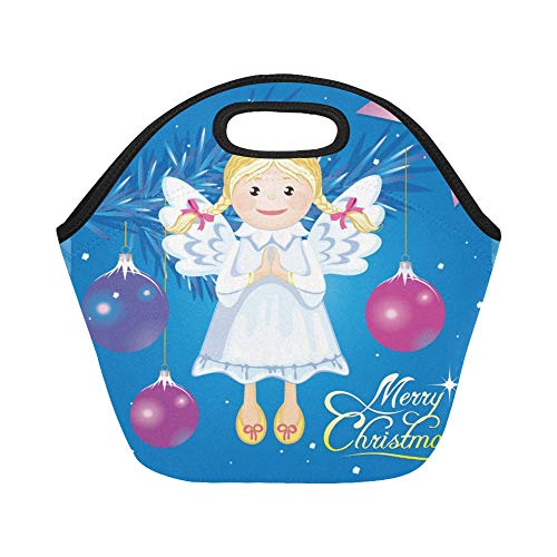 Insulated Neoprene Lunch Bag Greeting Christmas Card Angel Toy Large Size Reusable Thermal Thick Lunch Tote Bags For Lunch Boxes For Outdoors,work, Office, ()