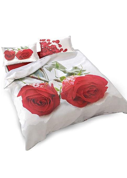 Copripiumino Con Rose.Parure Copripiumino Singolo In Puro Cotone Con Stampa Digitale Di