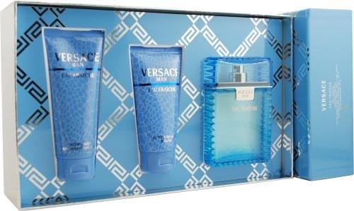 Versace Man Eau Fraiche by Gianni Versace for Men. Set-Eau De Toilette Spray 3.3-Ounces & Aftershave Balm 2.5-Ounces & Shower Gel 3.3-Ounces by Versace