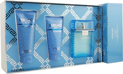 Versace Man Eau Fraiche Cologne by Gianni Versace for Men. 3 Pc. Gift Set. 166154