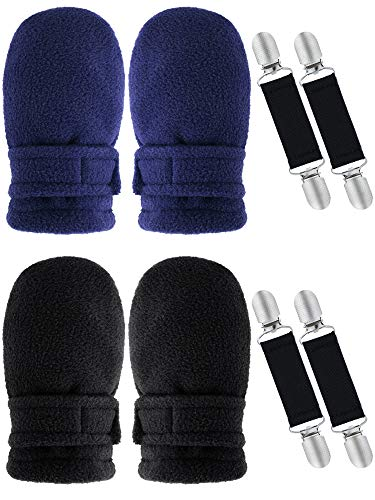 2 Pairs Toddler Baby Winter Mittens Thick Fleece Lined Gloves Warm Easy-on Mittens with 4 Pieces Adjustable Glove Clips (Black, Navy Blue, Aged 6-18 Months)