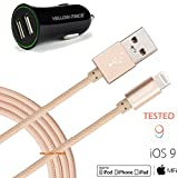 iPhone Charger,Car Charger, Yellow-Price Dual Rapid USB Cigarette Charger with 3.3ft Braided Apple MFi Certified Lightning 8pin to USB Charge & Sync Cable for iPhone SE/6S Plus iPad Mini/Air/Pro