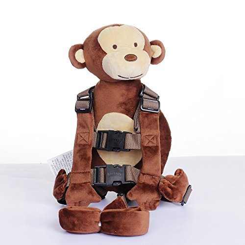 Berhapy 2 in 1 Monkey Toddler Safety Harness Backpack Children's Walking Leash Strap(Brown)