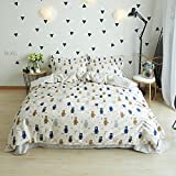LELVA Bear Print Bedding 100%Cotton Kids Duvet Cover Set Girls and Boys Bedding 3 Piece (Twin, Fitted Sheet Set)