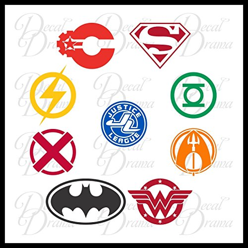 Justice League SET Vinyl Decal | DC Comics Justice League Batman Superman Wonder Woman Aquaman Flash Cyborg Green Lantern Martian Manhunter | Cars Trucks Vans Laptops Cups Mugs | Made in the USA ()