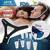 Snoring Solution Anti Snoring Chin Strap, 4 Set Stop Snoring Nose Vent Nasal Dilators Adjustable Chin Sleep Strap Snore Reduction Snore Relief Sleep Aid Devices Stop Snoring Devices for Men Women