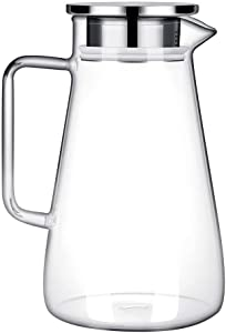52 Ounces Borosilicate Glass Pitcher with Handle - Heat Resistant Water Carafe with Stainless Steel Lid - Large Beverage Pitcher for Homemade Juice and Iced Tea
