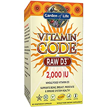 Garden of Life Vitamin D3 - Vitamin Code Raw Whole Food D3 Supplement, 2000 IU, Vegetarian, Dairy and Gluten Free, 60 Capsules