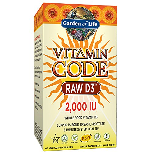 Garden of Life Raw D3 Supplement Vitamin Code Whole Food Vitamin D3 2000 IU