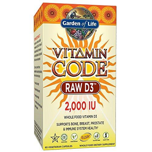 Garden of Life Raw D3 Supplement Vitamin Code Whole Food Vitamin D3 2000 IU