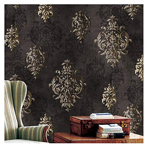 "JZ112 Luxury Brown Damask Wallpaper Roll, Stereo Deep Embossed Vinyl Wallpaper Bedroom Living Room Hotel Wall Decoration 20.8"" x 393.7"""