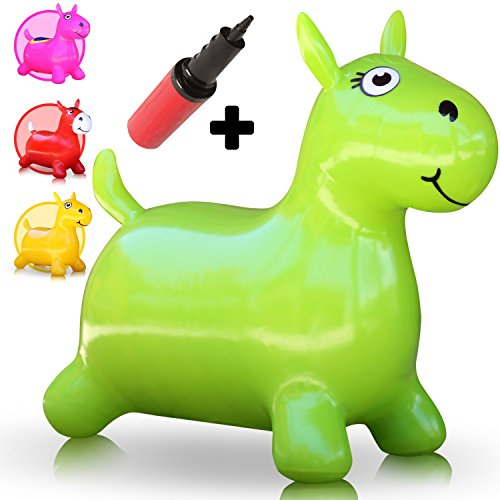Waliki Hopping Horse Hopper  Johnny The Bouncy Horse  Ridding Horse For Kids  Pump Included Green