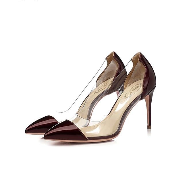 Trabajo Mujeres De Zapatos Moda Señalado Talones Burdeos Atractivo uOXPZkiT