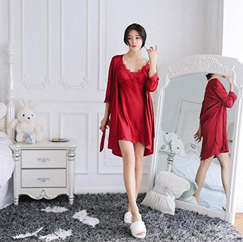 Wanyne -dressing Robes Avec Des Femmes Robe Sexy Bracelet Pyjama Chemise De Nuit En Dentelle Robe Pansement Avec Plastron (couleur: Noir, Taille: L) Rouge