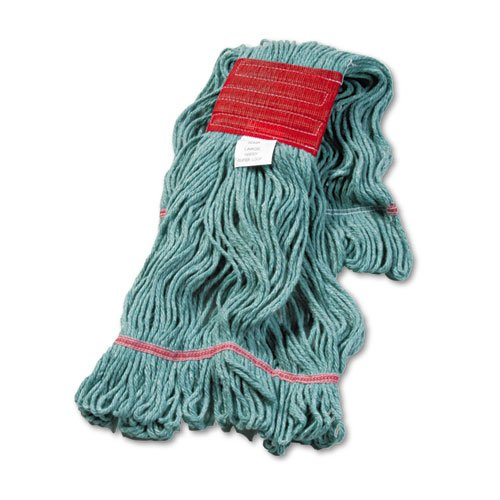 UNISAN Super Loop Wet Mop Head, Cotton/Synthetic, Large Size, Green - 12 mop heads.