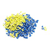 Aexit 380Pcs E4009 Audio & Video Accessories Blue Yellow Pre Insulate Terminal Ferrules for Connectors & Adapters 12AWG Wire