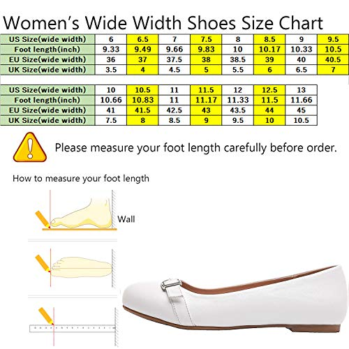 Wide Round Width Luoika Shoes Women's White Flat On Leather Comfortable Slip Toe Faux Ballet Flats wwqC8a