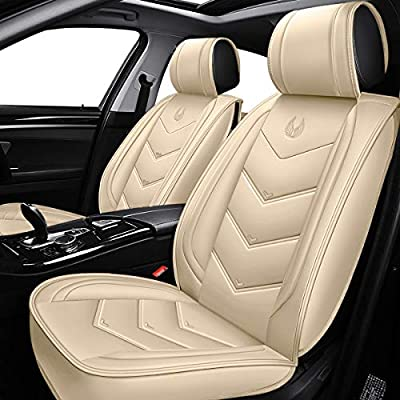 OASIS AUTO OS-003 Leather Car Seat Covers, Faux Leatherette Automotive Vehicle Cushion Cover for Cars SUV Small Pick Up Truck Universal Fit Set Compatible with Toyota-Nissan-Honda-Jeep-Subaru: Automotive