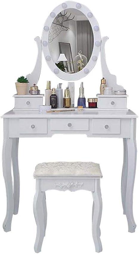 LED Schminktisch,Eitelkeit Set Mit Hocker,Frisiertisch Mit Aufbewahrungsschrank,Einfache Montage Vanity Table,F/ür Frauen
