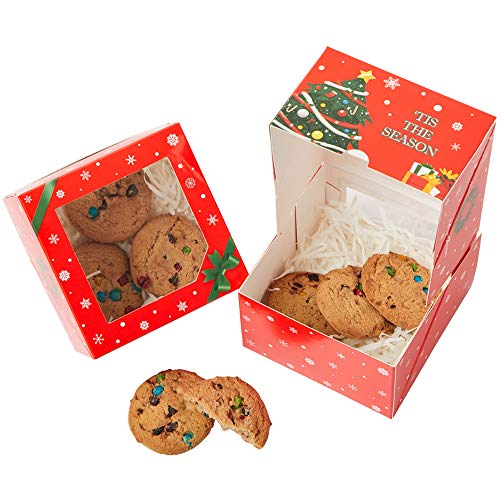 Yotruth Christmas Cake Gift Cookie Boxes Red 12 Pack 4x4x2.5