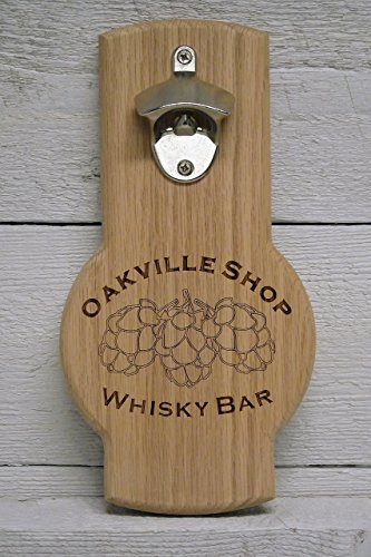 Bottle opener wall mounted personalized custom engraved hop cone logo. Great gift, for home bar, restaurant, (Logo Wall Mounted Bottle Opener)