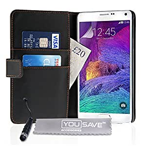 Yousave Accessories de piel sintética con tapa con Mini lápiz capacitivo para Samsung Galaxy Note 4 - negro