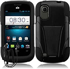 ZTE PRELUDE Z993 AVAIL 2 Z992 BLACK HYBRID T KICKSTAND COVER HARD GEL CASE + FREE CAR CHARGER from [ACCESSORY ARENA]