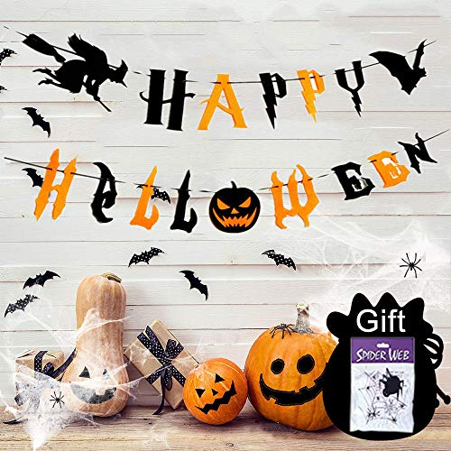 Halloween Dekoration, Happy Halloween Banner Set zuammen mit Buchstaben, Hexe, Fledermaus, Spinnwebe & mini Spinnen, geruseliges Halloween Deko Kinderparty für Innen Outdoor, Halloween Girlande 3Meter