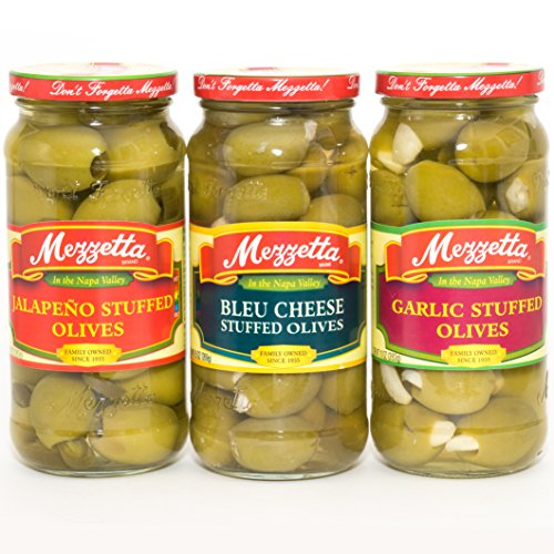 Garlic Olives Stuffed - Mezzetta Stuffed Olives Variety Gift Pack (Garlic, Bleu Cheese And Jalapeno Stuffed Olives)