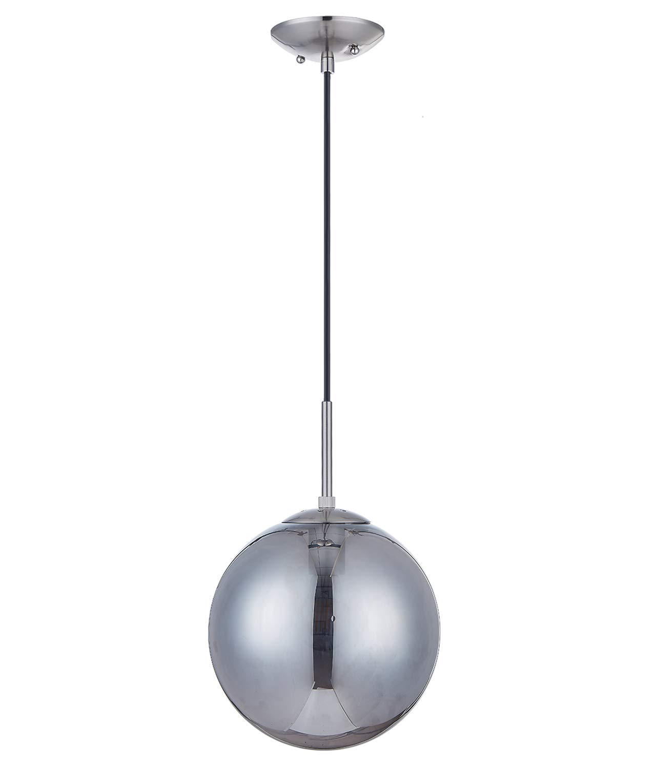 Doraimi 1-Light Modern Simple,Stem Hanging Pendant,Brushed Nickel Finish with Smoky Gray Glass for Bar, Dining Room, Corridor,Living Room. LED Bulb not Include – Dia 8