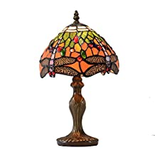 Stained Glass Dragonfly Table Lamp Decorative Desk Light Handcrafted Vintage Style Art Deco
