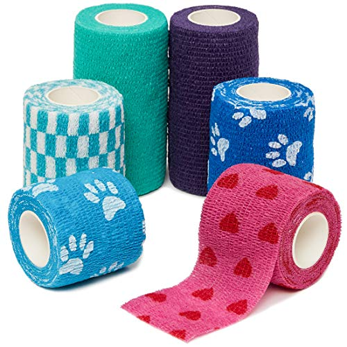 Yd Cohesive Elastic Bandage Wrap - Juvale 16-Pack Self Adherent Medical Vet Tape Wrap Cohesive Bandage for First Aid, 6 Colors, 3 Sizes