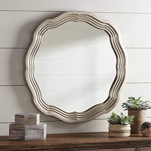 Noble Park Dara Silver 32 1 2 Scalloped Round Wall Mirror