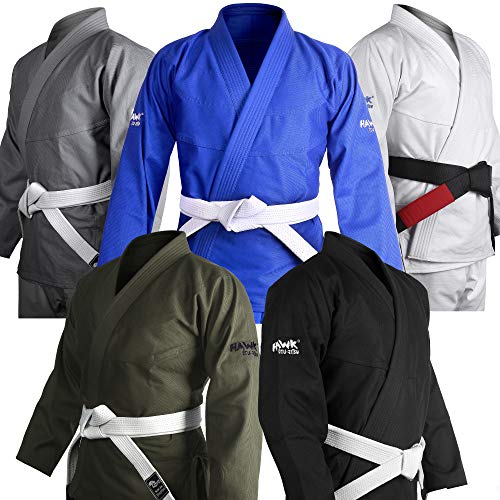 Brazilian Jiu Jitsu Gi BJJ Gi for Men & Women Uniform Kimonos Ultra Light, Preshrunk, Free White Belt!!! (Black, A2)