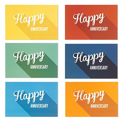 36-Pack-Happy-Anniversary-Greeting-Cards-6-Minimalist-Long-Shadow-Flat-Designs-with-Vintage-Typography-Bulk-Box-Set-Variety-Assortment-Envelopes-Included-4-x-6-Inches