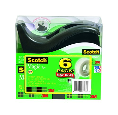 Scotch Magic Matte Finish Tape with C60 Dispenser, Writeable, 3/4 x 1000 Inches, 6 Rolls, 1 Dispenser (810-6BP) -  3M, 0002120046789