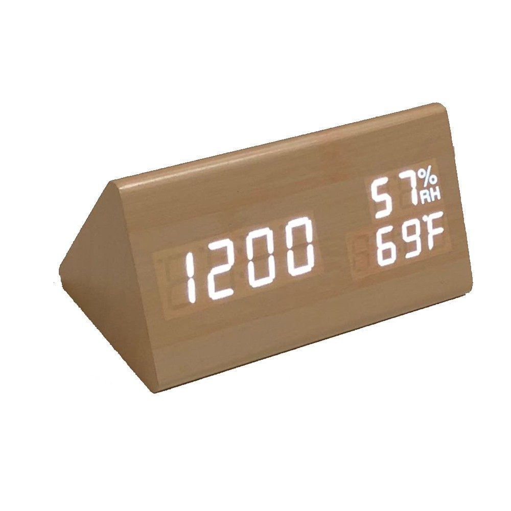 Triangle Modern Wood Digital LED Alarm clock for office, desk or bedroom with Voice Control, Adjustable Brightness to show Time Date Day and Temperature & Humidity (Bamboo_LED_White_humidity)