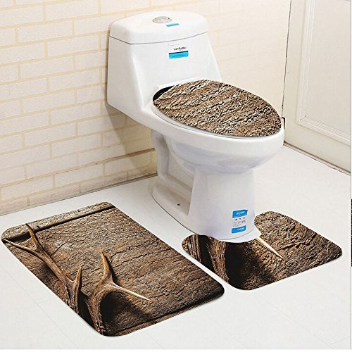 Keshia Dwete three-piece toilet seat pad customAntlers Deer Antlers On Wood Table Rustic Texture Surface Hunting Season Decorating