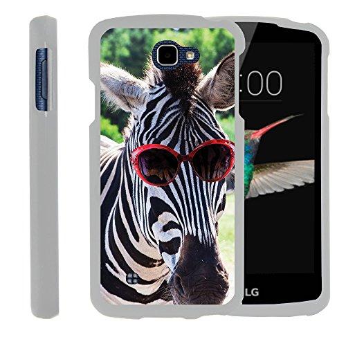 MINITURTLE Case Compatible w/LG Optimus Zone 3,LG Spree,LG K4,LG Rebel White Phone Case, Full Body Snap on Hard Cover Animal Artwork - Zebra in Glasses