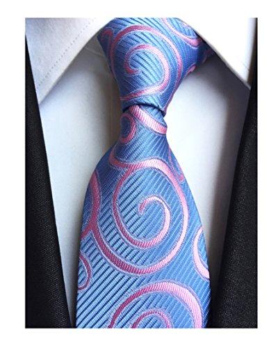 Tie Tonal Blue Silk (Men Sky Blue Pink Rattan Woven Tie HANDMADE Luxury Suit Necktie Birthday Present)