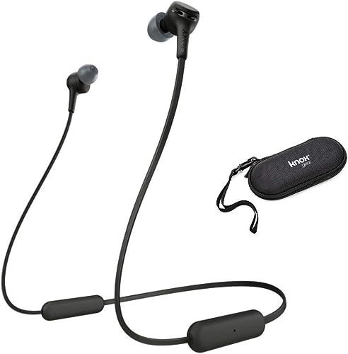 Sony WI-XB400 Extra Bass Wireless in-Ear Headphones Black with Knox Gear Hardshell Earphone Case 2 Items