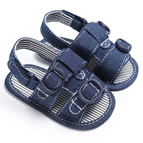 Igemy 1Paar Baby Kleinkind Canvas Boys Cute Crib T-gebundenen Soft Prewalker Soft Sole Anti-Rutsch Schuhe Sandalen Blau