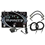 Pigtronix Infinity Looper Dual-stereo Looper Pedal with Analog Limiter and Multiple Looping Modes with ac power adapter 2 Instrument cable and 2 Path cables for guitars