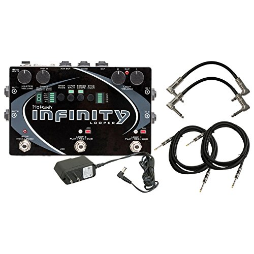 - Pigtronix Infinity Looper Dual-stereo Looper Pedal with Analog Limiter and Multiple Looping Modes with ac power adapter 2 Instrument cable and 2 Path cables for guitars